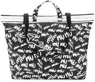 Miu Miu (ミュウミュウ) - Miu Miu ロゴプリント トートバッグ