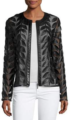 Neiman Marcus Leather Leaf-Trimmed Sheer Organza Jacket, Black