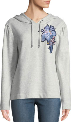 Sanctuary Crane-Embroidered Crop Hoodie