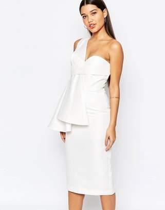 AQ AQ AQ/AQ Tosso Midi Dress With One Shoulder Pleat Detail $275 thestylecure.com