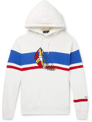 Polo Ralph Lauren Appliquéd Fleece-Back Cotton-Blend Jersey Hoodie