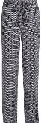 Theory - Brilda Printed Silk Crepe De Chine Wide-leg Pants - Midnight blue $355 thestylecure.com