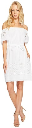 Donna Morgan - Off Shoulder Dress with Eyelet Border Women's Dress $98 thestylecure.com