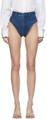 Y/Project Navy Denim Janties Shorts