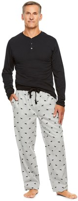 Haggar Men's Sleep henley & Plaid Flannel Sleep Pants Set