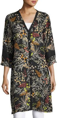 Johnny Was Busch Button-Front Long Cardigan, Black Pattern, Plus Size $265 thestylecure.com