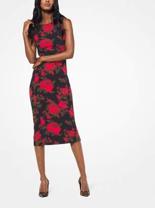 Michael Kors Chine Floral Stretch-Cady Sheath Dress