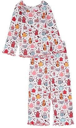 Sara's Prints KIDS' TEAPOT-PRINT COTTON-BLEND PAJAMA SET