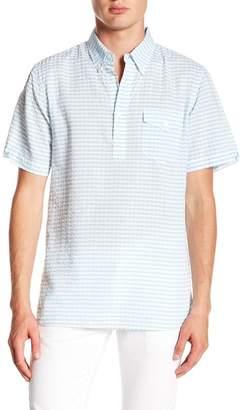 Jachs Striped Seersucket Short Sleeve Classic Fit Shirt