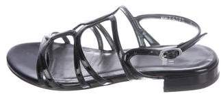 Stuart Weitzman Patent Leather Ankle-Strap Sandals