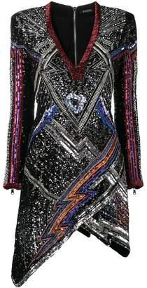 Balmain structured sequinned dress