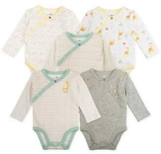 Sunny & Sal Long Sleeve Kimono Wrap Bodysuits, 5-pack (Baby Boys or Baby Girls Unisex)