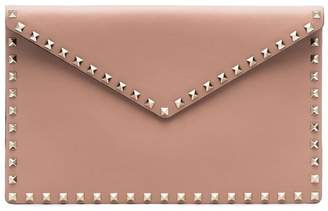 Valentino pink Garavani stud embellished leather envelope pouch