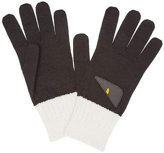 Fendi bicolor appliqué gloves