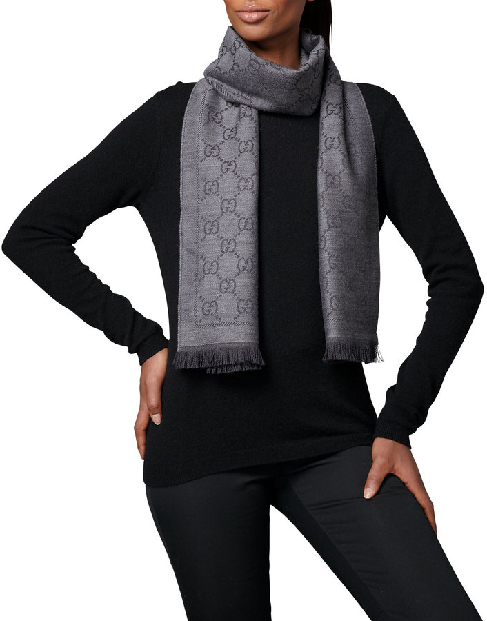 Gucci GG Pattern Scarf, Anthracite