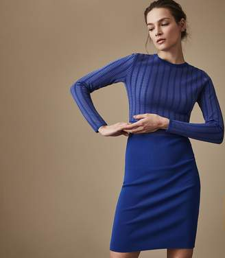 Reiss NADINE KNITTED BODYCON DRESS Bright Blue