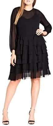 City Chic Tiered Love Ruffle Chiffon Dress