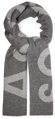 Acne Studios Toronty Logo Jacquard Wool Blend Scarf - Womens - Grey
