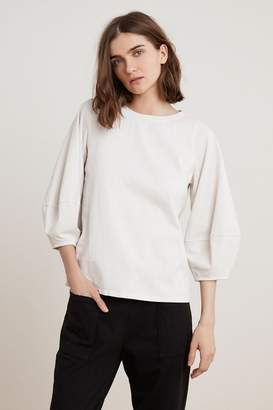 Velvet by Graham & Spencer JENICA STRUCTURED COTTON PUFF SLEEVE TOP