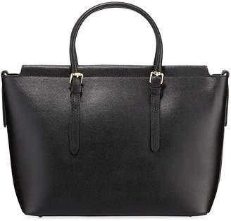 Neiman Marcus Saffiano Leather Compartment Tote with Crossbody Strap