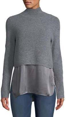Elie Tahari Casper Turtleneck Long-Sleeve Cashmere Sweater w/ Silk Cami