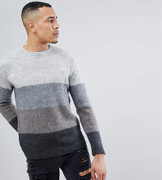 Asos TALL Striped Sweater With Mohair Wool Blend In Black And Gray