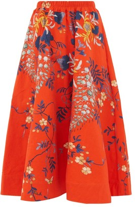 By Walid Daisy Floral Print Cotton Canvas Midi Skirt - Womens - Red Multi