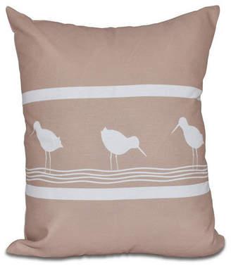 E By Design Birdwalk 16 Inch Taupe Decorative Coastal Throw Pillow