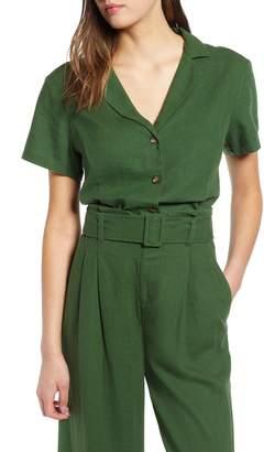 BP Linen Blend Crop Camp Shirt