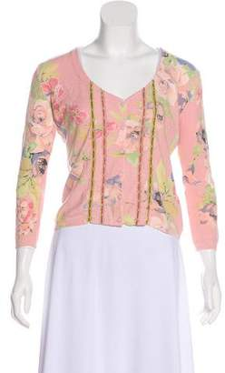 Blumarine Floral Patterned Knit Cardigan