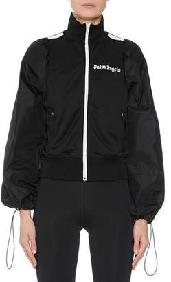 Palm Angels Balloon-Sleeve Zip-Front Logo Track Jacket