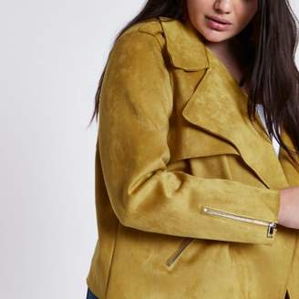 River Island Womens Plus mustard faux suede cropped trench jacket