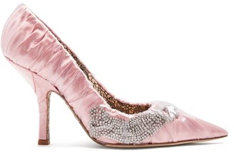 Midnight 00 Crystal Embellished Pvc Satin Pumps - Womens - Pink