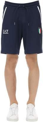 Emporio Armani Ea7 Team Italia Stretch Cotton Jersey Shorts