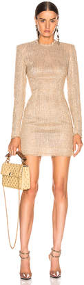 Balmain Sequined Dress in Sable & Blanc | FWRD