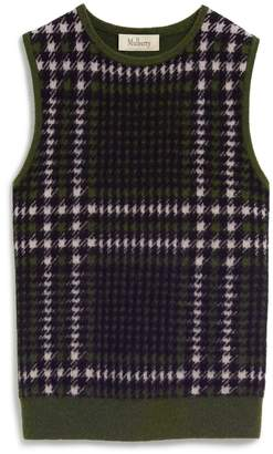 Mulberry Callie Tank Top Burgundy Tri Colour Check Cashmere Blend