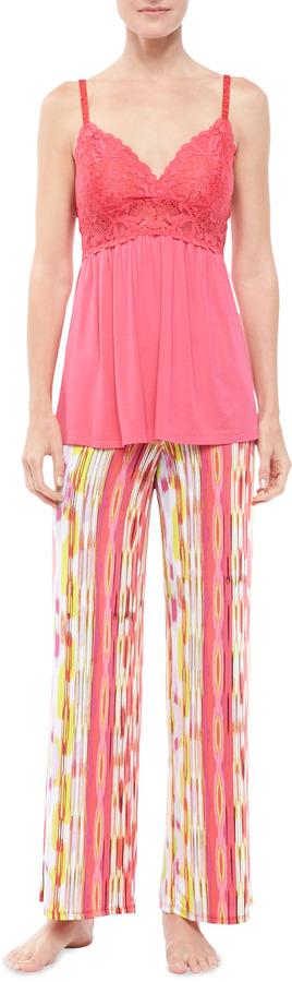 Josie Sulu Lace & Ikat-Print Pajamas