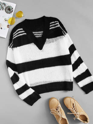 Shein Plus Ripped Striped V-neck Sweater