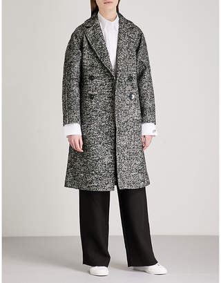 Mo&Co. Notch-lapel double-breasted tweed coat
