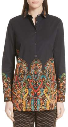 Etro Scrolling Paisley Print Stretch Cotton Top