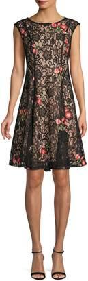 Gabby Skye Lace Cap-Sleeve Fit Flare Dress