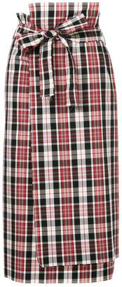 ASTRAET plaid print midi skirt