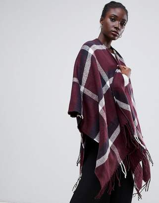 Warehouse oversized knitted scarf in red check
