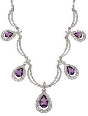 Lord & Taylor Diamond And Amethyst Sterling Silver Necklace