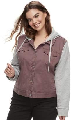ff4ffcc01e193 Mudd Juniors  Plus Size Hooded Knit Sleeve Jean Jacket