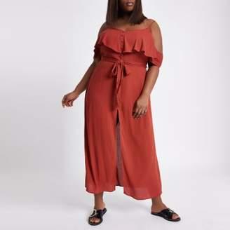 River Island Womens Plus red frill button maxi cami dress