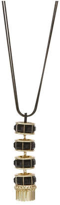 Christian Siriano Black Tone Necklace with Gold Tone Y Tassel Pendant