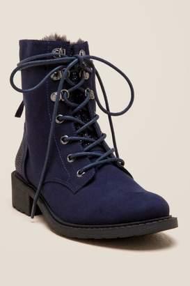 francesca's Dana Combat Low Shaft Boot - Navy