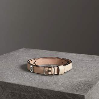Burberry Crystal Daisy Leather Belt , Size: 85, Beige