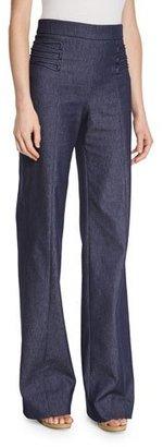 Cushnie Et Ochs Lace-Up Wide-Leg Denim Pants, Denim $795 thestylecure.com